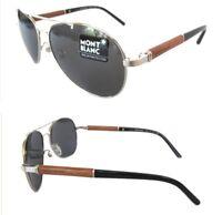 New Mens Sunglasses Montblanc MB409S 16A Palladium/Gray Polarized $400
