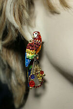 """""""LATR"""" LUNCH AT THE RITZ TO GO USA """"RED MACAW PARROT"""" EARRINGS"""