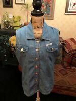 EXPLOSION Ladies Blue Denim Sleeveless Shirt Overshirt Waistcoat Size L UK 14