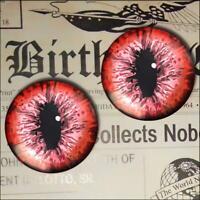 Red Creature Eyes Glass Taxidermy Realistic Eyeball 16mm Set