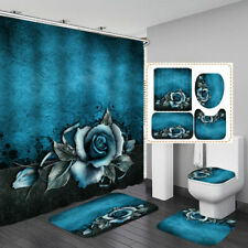 Blue Rose Door Bath Mat Toilet Cover Rugs Shower Curtain Bathroom Decor