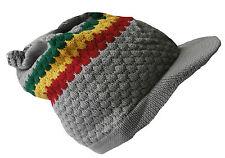 Rasta Reggae Beanie Hat Light Grey Knitted Cotton peaked Adult Medium Size