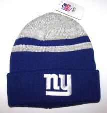 Nwt New York Giants ny Logo NFL Football Beanie Cap Hat Rolled Cuff Blue Gry Men