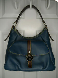 Dooney & Bourke Blue Leather Samba Hobo Shoulder Bag Purse Exc Condition!