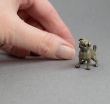 Tiny Vintage Cold Painted Bronze Miniature Pug Dog Figure/Sculpture