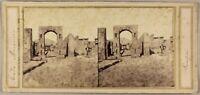 Italia Pompei Foto Stereo P8L1n2 Vintage Albumina Ca 1858