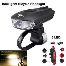 USB LED Fahrradlampe set Intelligent Fahrradlicht +5LEDs Fahrrad Rücklicht