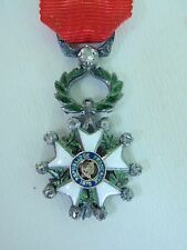 FRANCE ORDER OF THE LEGION OF HONOR MINIATURE WITH DIAMONDS. SILVER. RARE. VF+