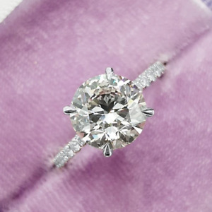 2.29 TCW Round Cut Forever Moissante Engagement Ring in 14K White Gold Plated