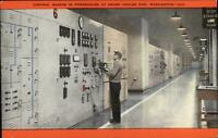Grand Coulee Dam WA Powerhouse Control Boards & Operator Linen Postcard