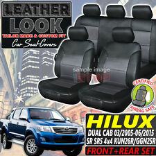 LEATHER LOOK SEAT COVERS for TOYOTA HILUX DUAL CAB SR SR5 4X4 03/2005-06/2015