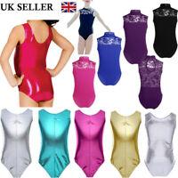 UK Kids Girls Shiny Ballet Dance Leotard Gymnastics Lace Back Jumpsuit Bodysuit