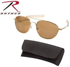 4d9c9dbf51974 Gold   Brown Aviator Pilot Sunglasses Air Force Style w Case 58 MM Rothco  10804