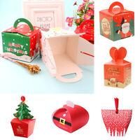 10pcs Assemble Merry Christmas Cookie Carrier Box Paper Gift Boxes Xmas Favor