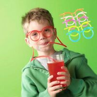 Colourful Kids Soft Flexible Drinking Straw Eyeglasses Drink Juice Tube Tubing