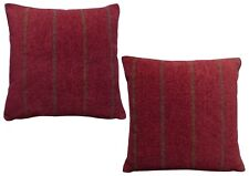 Pack of 2 Chenille Stripe Design Red, Brown, Grey Cushion Covers