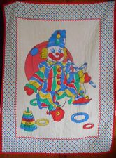 New listing Vintage 60's Pre -Quilted Circus Clown Baby Nursery Cotton Blanket 32x44 Unisex