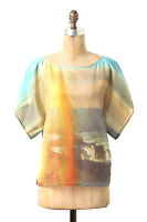 Anthropologie Top L HD In Paris Manu Blouse Beach Rainbow NEW w/Tags Cotton Silk