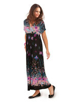 Pistachio Black Floral Print Maxi Dress Purple & Blue V Neck & Back UK 8-22