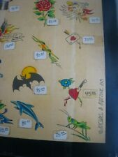 Large 20'' x 15'' Parlor-Used Tattoo Flash..' MICHAEL A. MALONE '..Hand Colored