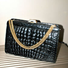 Grand sac noir VINTAGE en Crocodile Véritable - Années 1970 Maroquinerie Italie