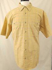 Cabela's Men's Shirt  Large Yellow Plaid Short Sleeve 100%Cotton Big&Tall