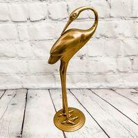 "VTG Brass Crane Egret Heron Stork Bird Figurine Statue 11"" Nautical Home Decor"