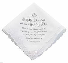 TO MY DAUGHTER On Her Wedding Day Bridal Gift Keepsake Handkerchief Verse Hankie