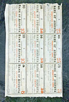 1863 BANK OF AUGUSTA FRACTIONAL NOTES UNCUT SHEET OBSOLETE BANKNOTE $4