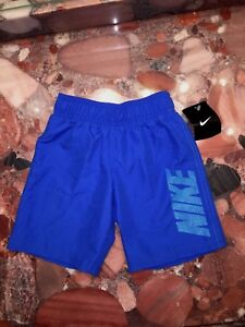 NWT $40 Nike Blue Logo Swimsuit Trunks Shorts Youth Small 4-5yrs Boy's S / 4