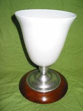 belle lampe MAZDA basse de chevet noyer alu et opaline art déco 1930 en parfait