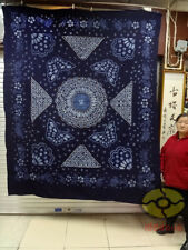 "Hand Indigo Tie Dye Rural Style Tablecloth Table Cover Sheet Tapestry 95""L x78""W"
