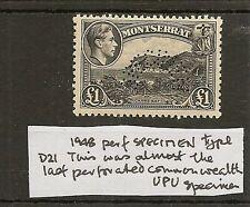 MONTSERRAT 1948 KGVI £1 HORSESHOE SPECIMEN SG112s MNH