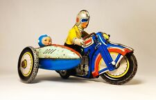 VINTAGE 1950'S LITHO PRESSED TIN WIND-UP FRICTION MOTORCYCLE TOY. W/RIDER CHINA