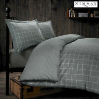 Melange Deluxe Tartan Check Brushed Cotton Flannelette Duvet Cover Bedding Set