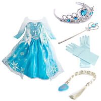Girls Frozen Elsa Princess Dress Kids Snow Queen Party Costume Dress Accessories