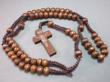 Rosary Necklace Wood Bead Macrame Accent Silver Imprint Crucifix DARK BROWN
