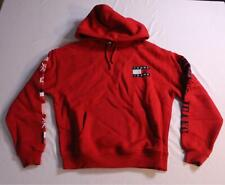 Tommy Jeans Unisex 90s Capsule Collection Logo Flag Hoodie AB3 Red Size XS