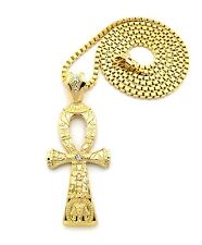 "NEW ANKH CROSS SYMBOL OF LIFE PENDANT 4mm/36"" BOX CHAIN NECKLACE XP936BX"
