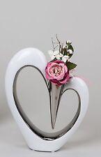 Moderne Deko Vase Blumenvase in Herzform aus Keramik weiss/silber Höhe 37 cm