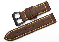 24mm Handmade Brown Genuine Leather Watch Strap PVD Clasp Bands Belt For Panerai