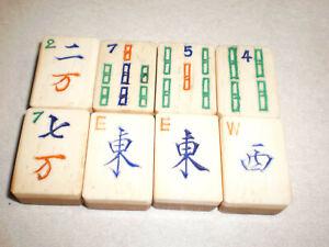 8 VINTAGE MAHJONG MAH JONGG BONE/BAMBOO TILES VERY GOOD USED CONDITION