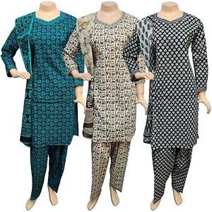 Pakistani Indian Printed Cotton Suit Dress Casual Stitched Shalwar Kameez Salwar