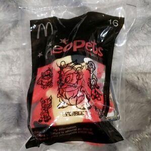 "Neopets Red Yurble Bear McDonalds Mini Promo Plush Stuffed Toy Sealed 4.5"" Tall"