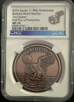 1969-2019 Apollo 11 50th Robbins Medal 1 oz Copper Medal NGC MS70 FDP
