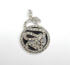 Black Onyx Marcasite Snake Pendant Sterling Silver *25grams*