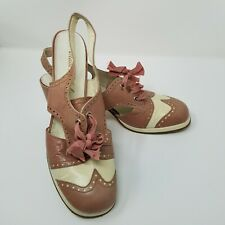 Vtg 40s Shoes Chunky Heel Rockabilly Pink White Wingtip Rockabilly Leather Italy