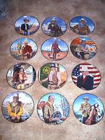 12 John Wayne Plates Franklin Mint Plate Collection Cowboy Western Movie Duke