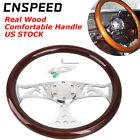 15 380mm Universal Classic Steering Wheel Wood Grain Trim Silver Chrome Spoke
