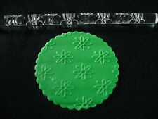 21cm DAISY FLOWERS TEXTURED ACRYLIC PATTERN ROLLING PIN EMBOSSED CAKE DECORATING